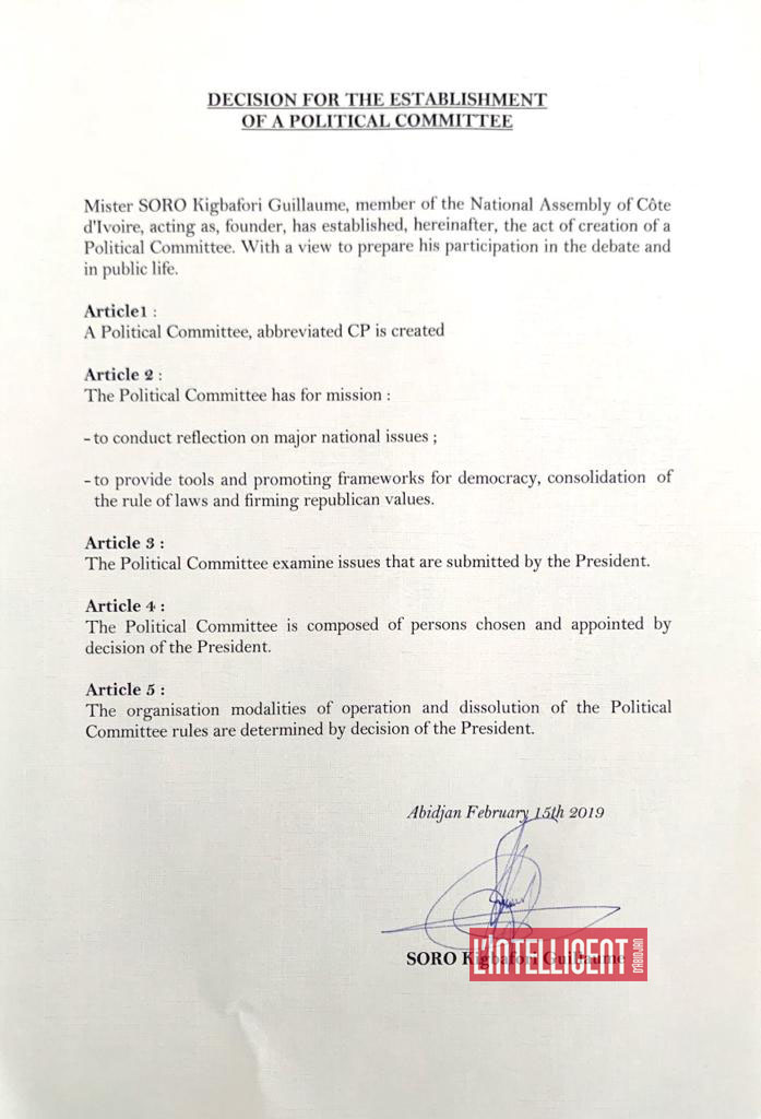 DECISION FOR THE ESTABLISHMENT OF A POLITICAL COMMITTEE